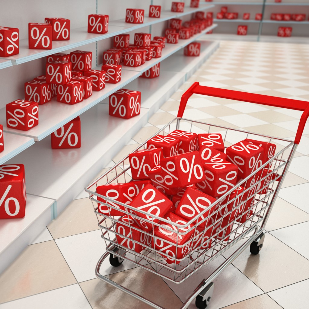 Shopping cart with red cubes